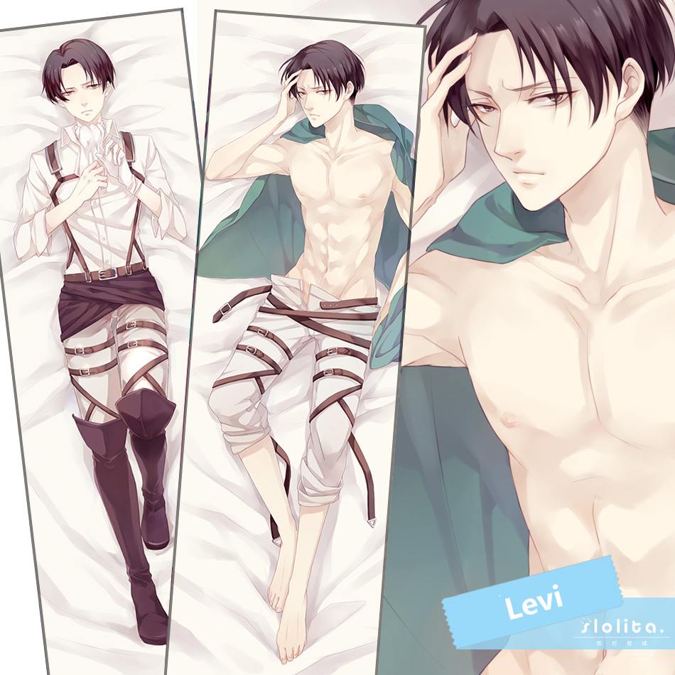 Attack on Titan Levi/Rivai Fujoshi Sexy Hugging Body Pillow Case Cover 160*50cm
