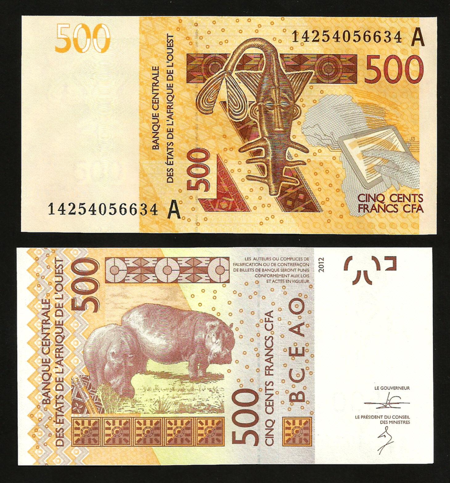 ธนบัตรประเทศ ไอวอรี่โคส WEST AFRICAN STATES IVORY COAST 500 FRANCS 2012 - 2014 UNC