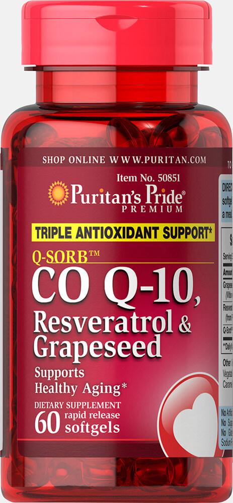 บำรุงผิวและหัวใจ Puritan's Pride Co Q-10, Resveratrol and Grapeseed / 60 Softgels