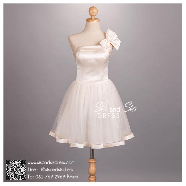 sd1087-01 ชุดเจ้าสาว ไหล่เดี่ยว สีแชมเปญ ทอง สวยหวานน่ารักมาก ใส่เป็นชุดงานหมั้น งานยกน้ำชา after party หรือ ชุดแต่งงานสั้น สวย เก๋ น่ารัก แบบเจ้าสาวยุคใหม่