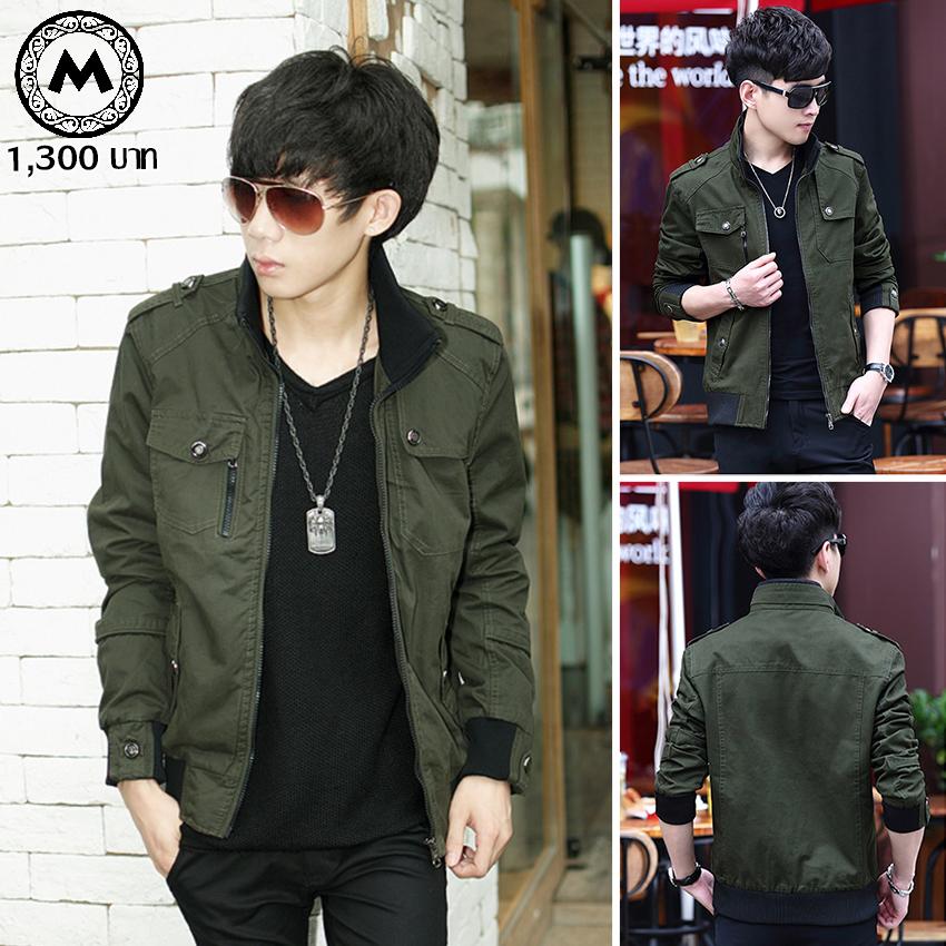 เสื้อแจ๊คเก็ตฟิลทหาร J066 สีเขียว [พร้อมส่ง]