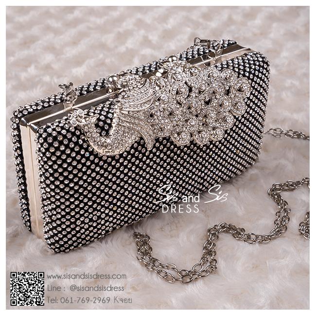 bs0004 กระเป๋าคลัช สีดำ กระเป๋าออกงานพร้อมส่ง ราคาถูกกว่าเช่า แบบสวยๆ ดูดีเหมือนดาราใช้