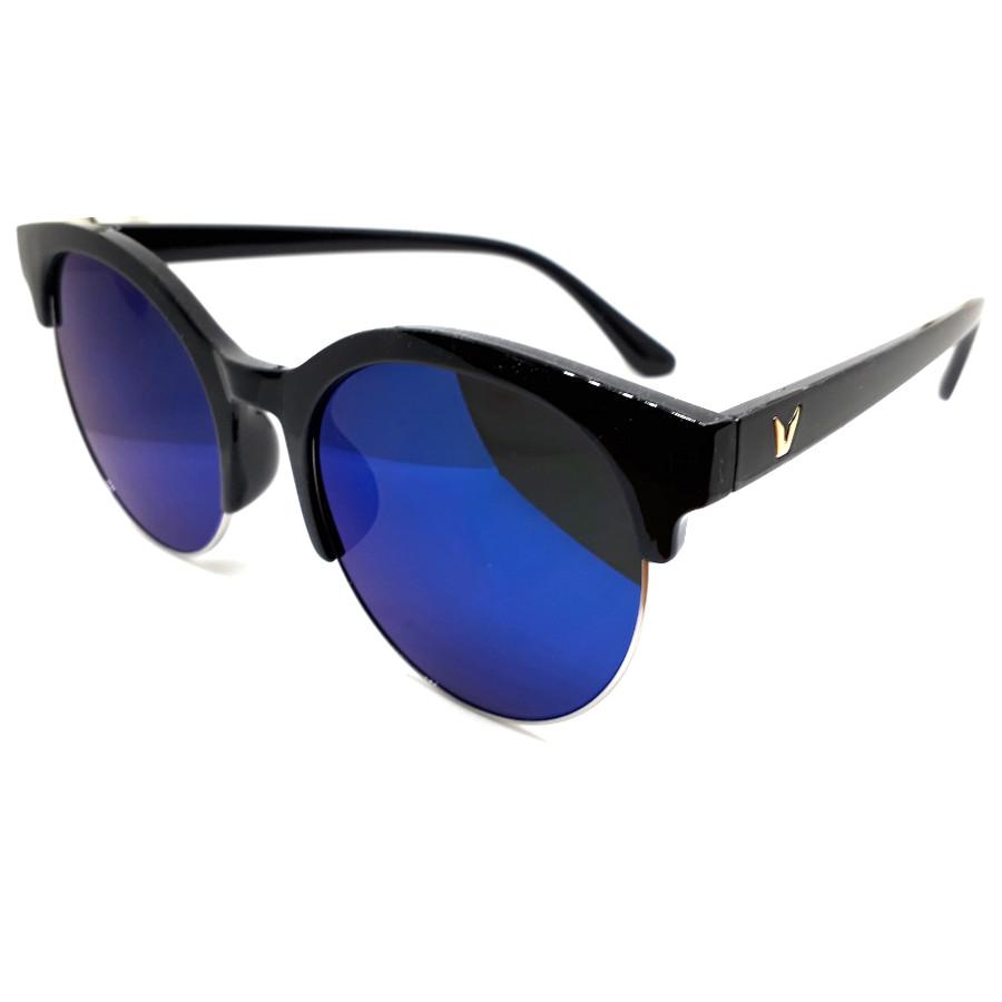 แว่นแฟชั่น วินเทจ แว่นกรอบสีดำ เลนส์น้ำเงิน รุ่น V-Mon