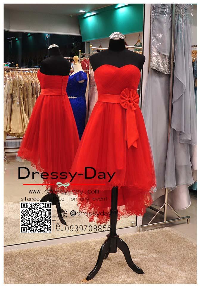 รหัส ชุดราตรียาว :JE029 ชุดราตรีหน้าสั้นหลังยาว สีแดง สวยๆ เหมาะใส่ออกงานแต่งงาน งานกลางวัน กลางคืน