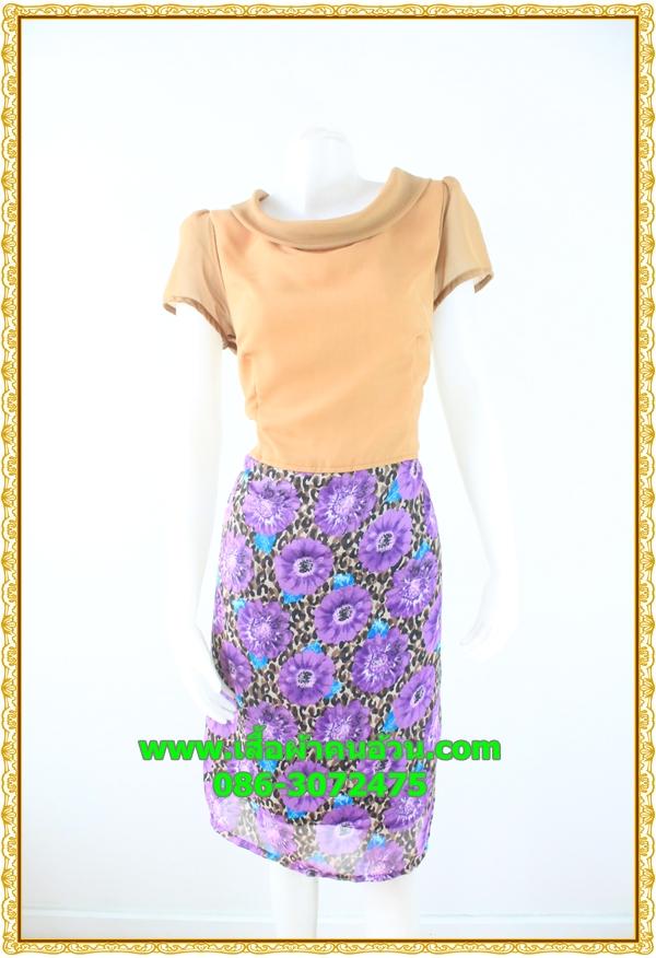 3106ชุดทำงานคนอ้วน เสื้อผ้าคนอ้วนคอตั้งปกตลบสีน้ำตาลแต่งคู่กระโปรงลายดอกใหญ่สไตล์วินเทจ สุภาพสวมใส่ได้หลายโอกาส
