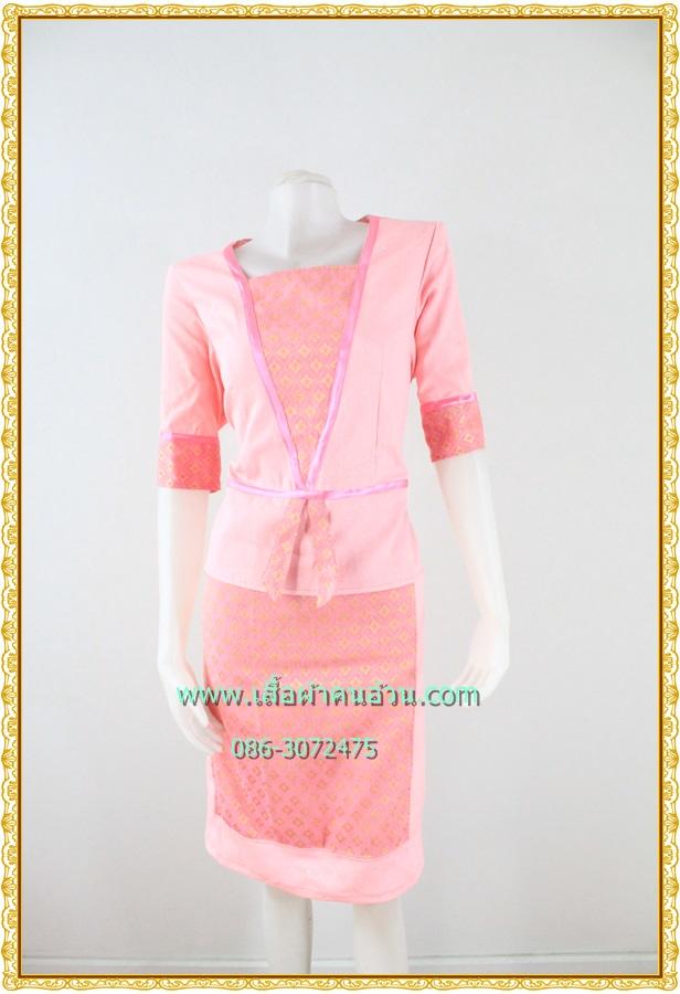 3170ชุดทํางาน เสื้อผ้าคนอ้วนผ้าไทยสีขมพูแต่งพื้นและลายคั่นด้วยกุ้นสี แขนยาว สไตล์เนี๊ยบสุดหรูมีรสนิยมเลือกชุดทำงาน