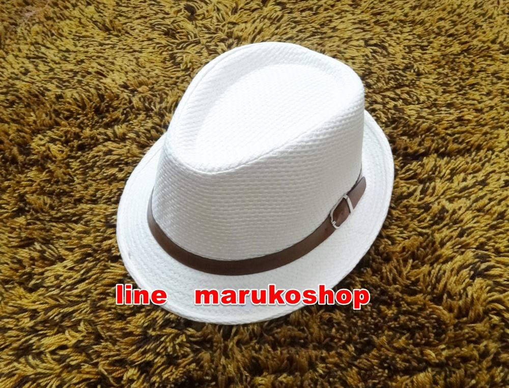 หมวกปานามา หมวกสาน หมวกปานามาสีครีมปีกสั้น คาดเข็มขัดน้ำตาล ปีกกว้าง 3.5 cm รอบศรีษะ 57-58cm.