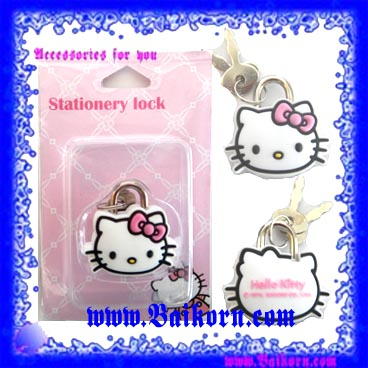 ลูกกุญแจและแม่กุญแจ ลาย เจ้าแมวคิตตี้ ( Hello Kitty