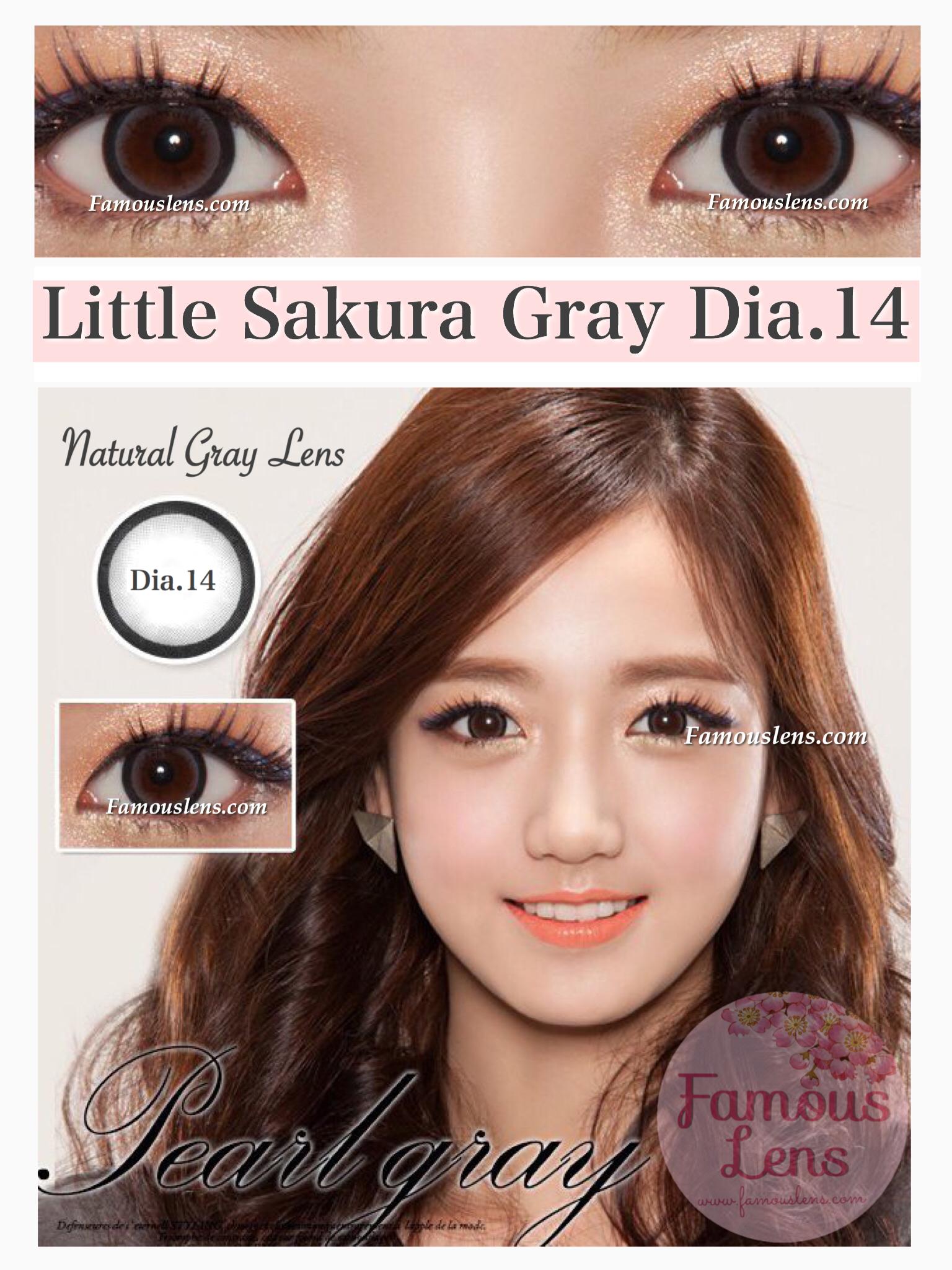 Little Sakura Gray คอนแทคเลนส์สีเทา ตัดขอบ ขนาดเล็ก Dia.14