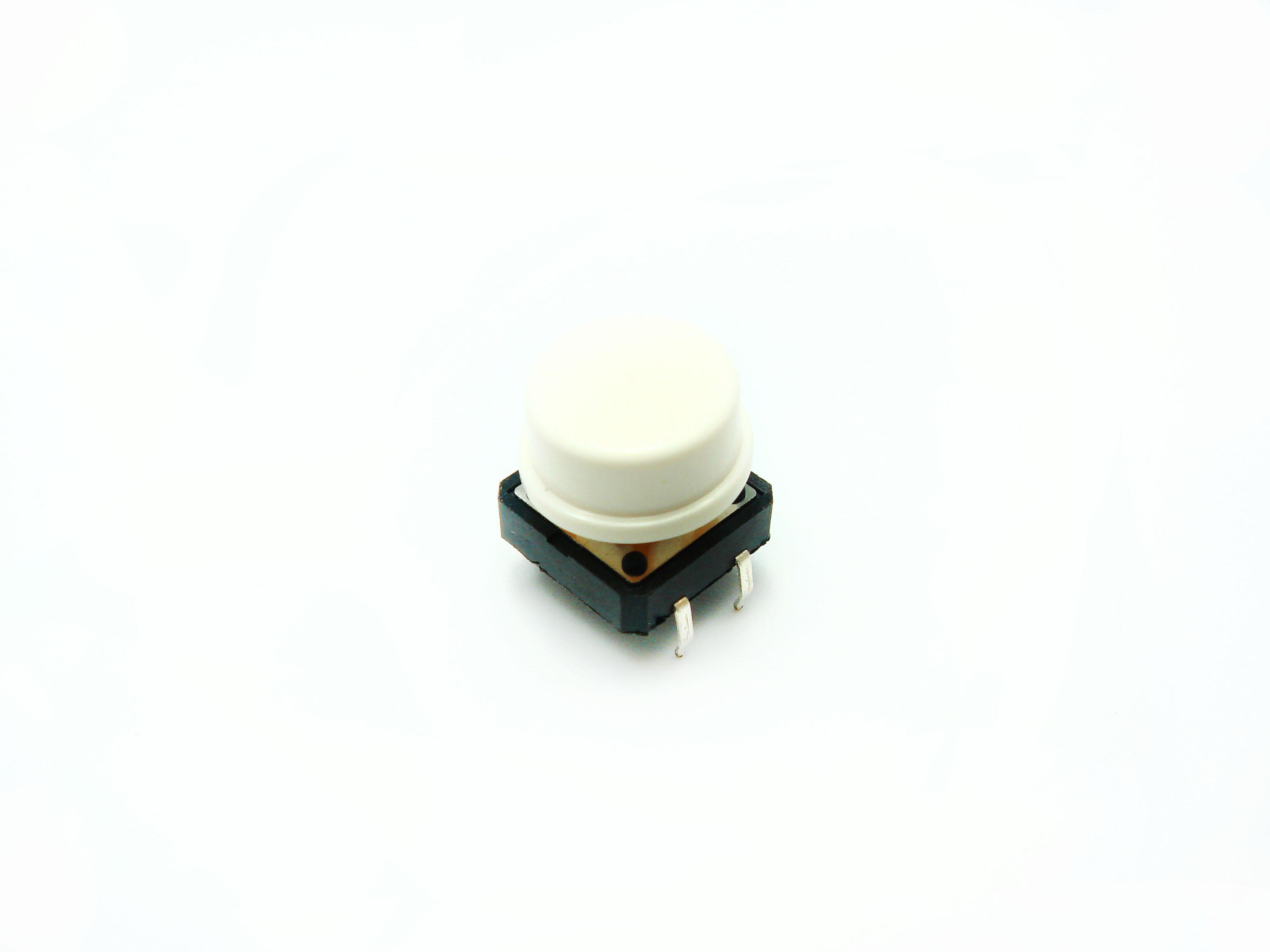 สวิตช์ ปุ่มกดติดปล่อยดับ B3F ขนาด 12 * 12 * 7.3 mm หัวสีขาว