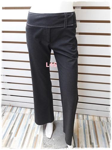 กางเกงผ้า มือสอง สีเทาดำ เอว 27 นิ้ว