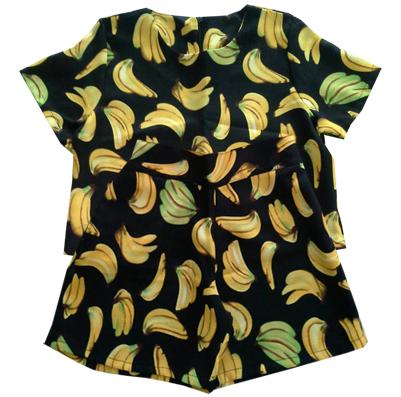 กางเกงขาสั้นและเสื้อผ้ามิลินพิมพ์ลายกล้วย กระเป๋าขวา ซิปซ้าย เอวยางยืดหลัง