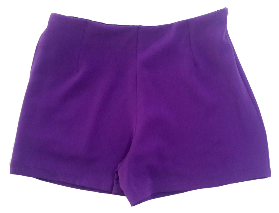 กางเกงขาสั้นเอวสูงขอบเรียบผ้าฮานาโกะ ซิปซ้าย กระเป๋าขวา สีม่วงเข้ม Size 2XL 3XL