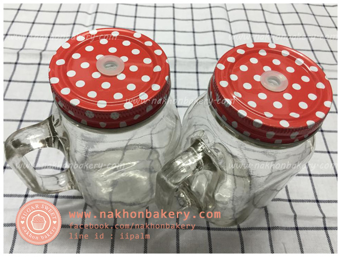 แก้วมัค mason jar มีหู ลายจุด สีแดง