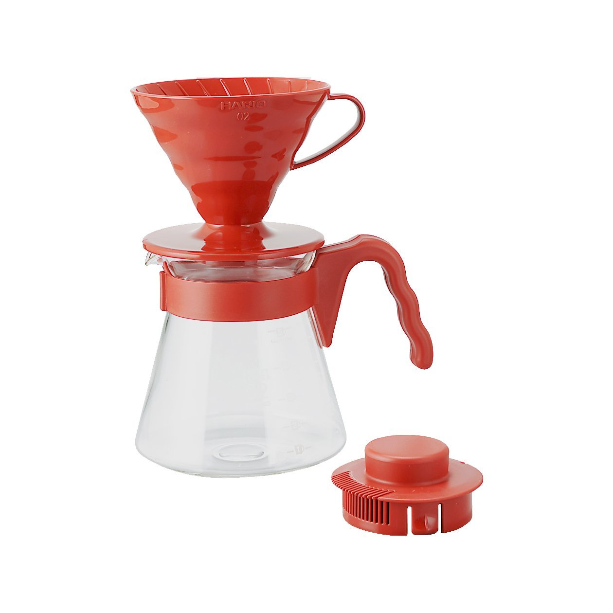 Hario อุปกรณ์ดริปกาแฟ รุ่น V60 coffee server set ขนาด 02 (สีแดง)