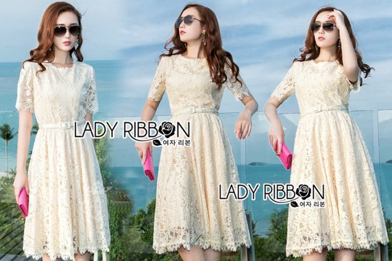 เสื้อผ้าแฟชั่นเกาหลี Lady Ribbon's Made Lady Nasha Sweet Classic White Lace Dress with Belt
