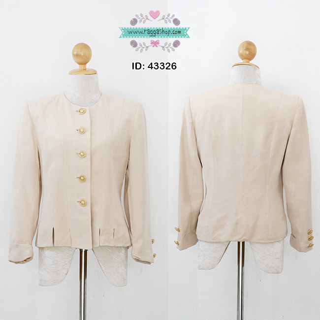 43326 size38 เสื้อสูทสีครีมผ้าไหมแท้100%