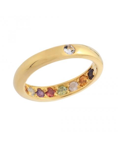 แหวนพูนทรัพย์พลอยนพเก้าหุ้มทองแท้