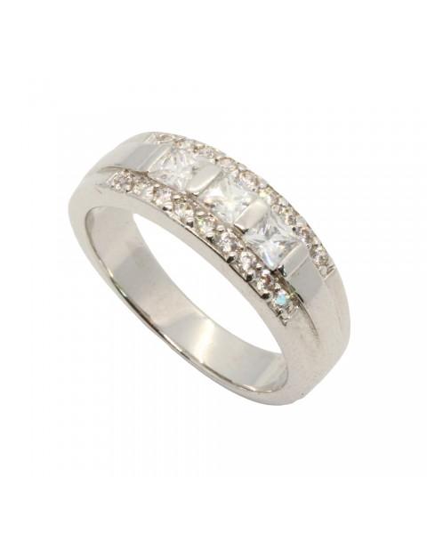 แหวนเพชร CZ ตัวเรือนหุ้มทองคำขาวแท้