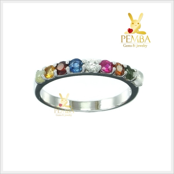 แหวนนพเก้า ตามตำราโบราณ เงินแท้ แหวนพลอยแท้