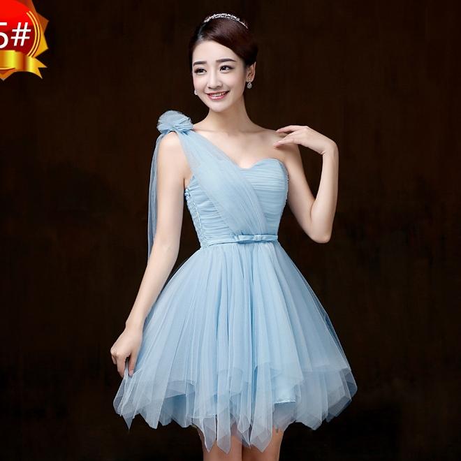 ชุดราตรีสั้น ชุดเพื่อนเจ้าสาว ชุดไปงานแต่งงาน สีฟ้า ไหล่ฉียง สวยๆ แนวหวาน น่ารัก