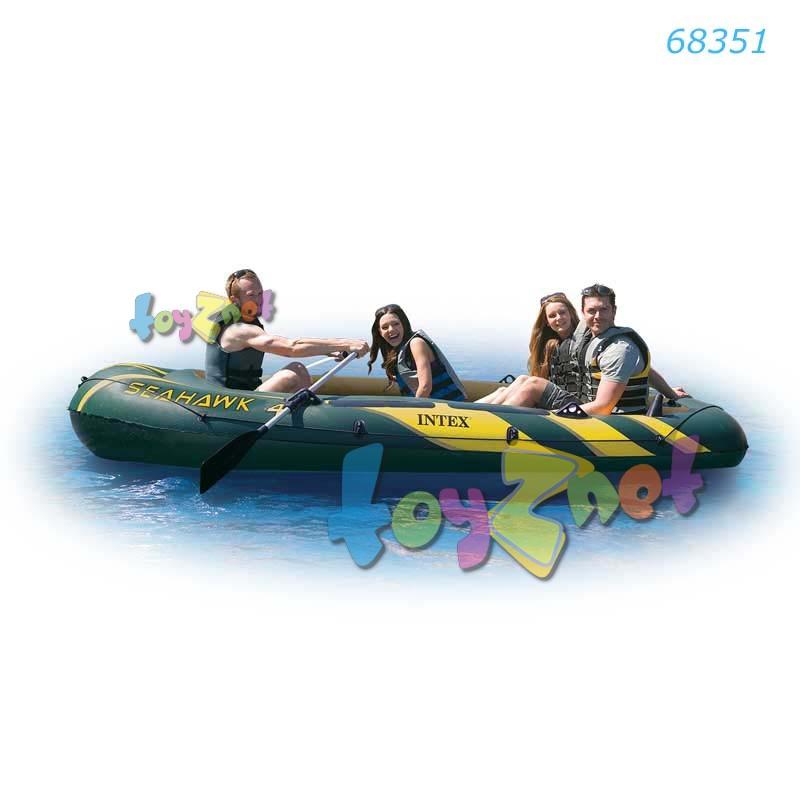 Intex ชุดเรือยางซีฮ็อว์ค 4 ที่นั่งพร้อมพายอลูมิเนียมและที่สูบลม รุ่น 68351