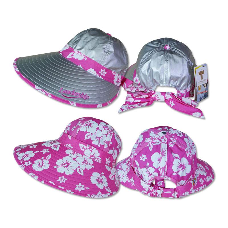หมวกกันUV หมวกกอล์ฟ กันแดด ใส่ได้2ด้าน มีโบว์ (สีเงิน/ลายดอกไม้ชมพู) by Season Tales