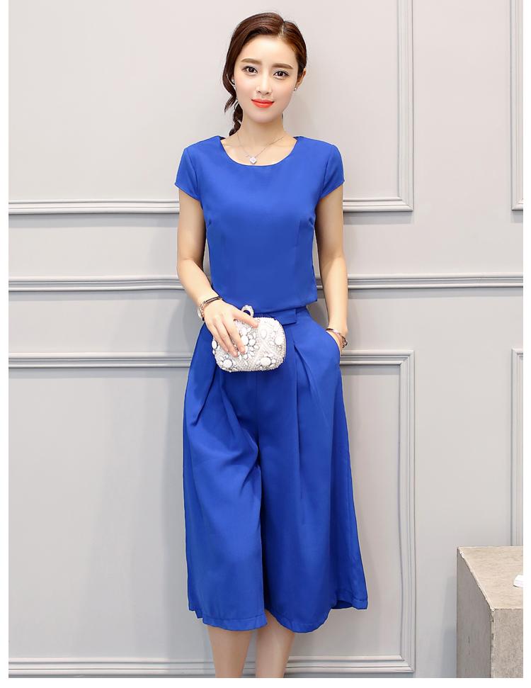 ชุดเซ็ท 2 ชิ้นเข้าชุดสีน้ำเงิน เสื้อแขนสั้น+กางเกงขากว้าง