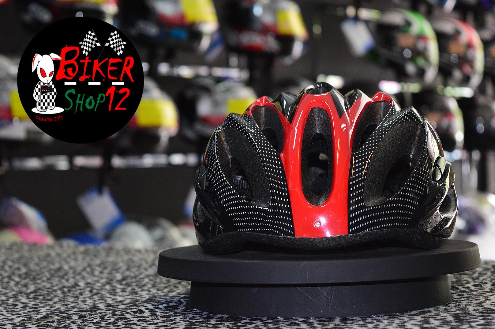หมวกกันน็อค จักรยาน สีแดง-ดำ