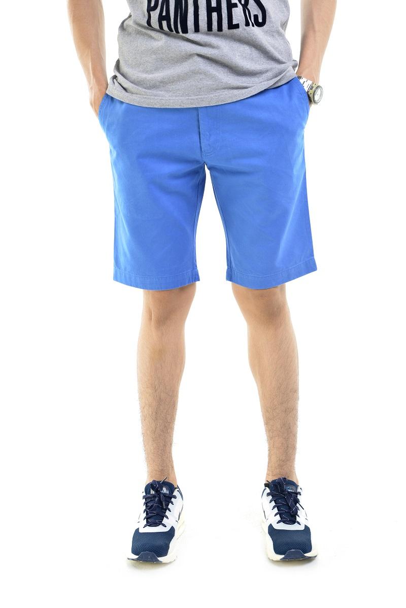 กางเกงขาสั้นผู้ชายสีฟ้า ผ้าฟอกนิ่ม