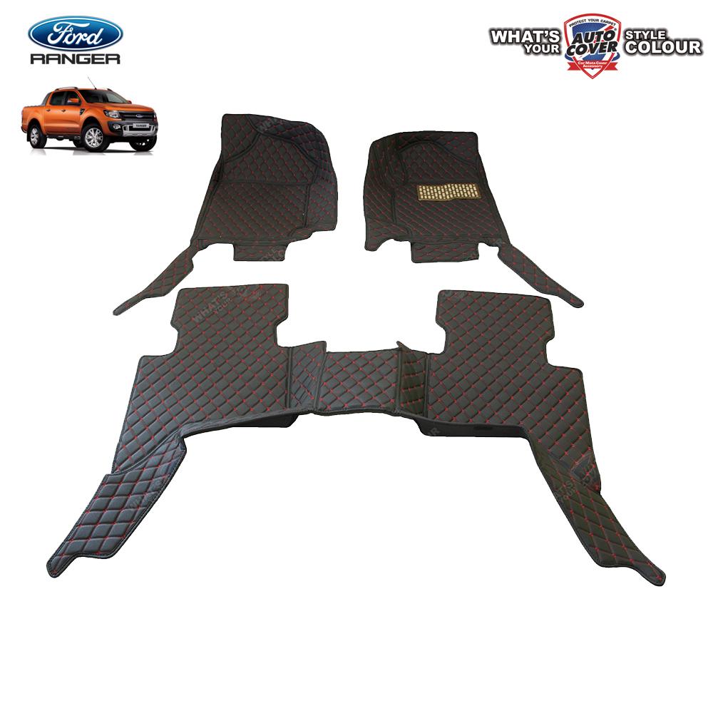 พรมเข้ารูป 6 D Leather Car Mat จำนวน 3 ชิ้น FORD RANGER 4 DOOR 2012-2018