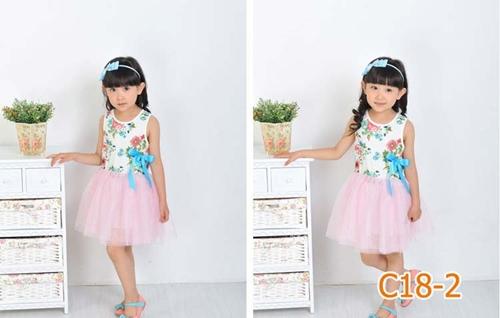 เดรสแขนกุดพิมพ์ดอกไม้ (1-4 ปี)
