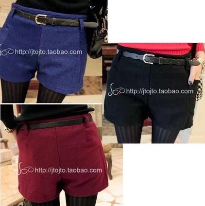(SALE) กางเกงแฟชั่น ผ้าสำลี ขาสั้น สีน้ำเงิน+เข็มขัด