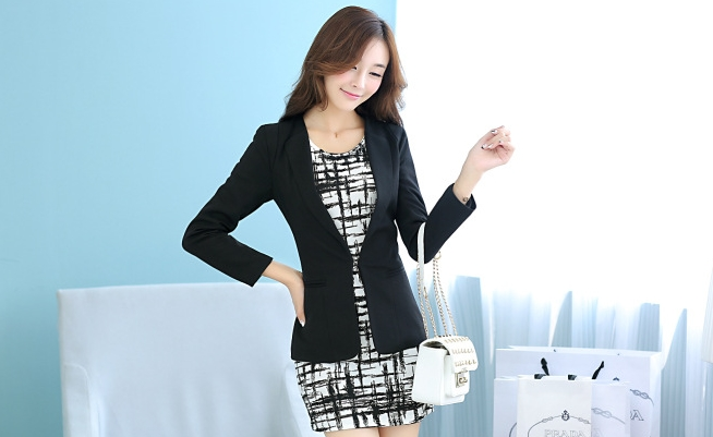 เสื้อสูททำงานผู้หญิงสีดำ ทรงเข้ารูป คอปก ผ้าโพลีเอสเตอร์