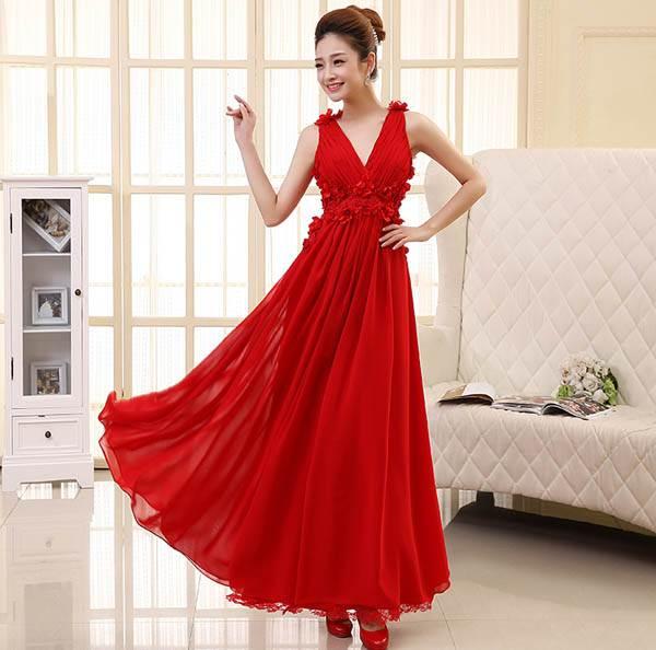 ชุดกระโปรงยาวแฟชั่น สีแดง ผ้ายืด