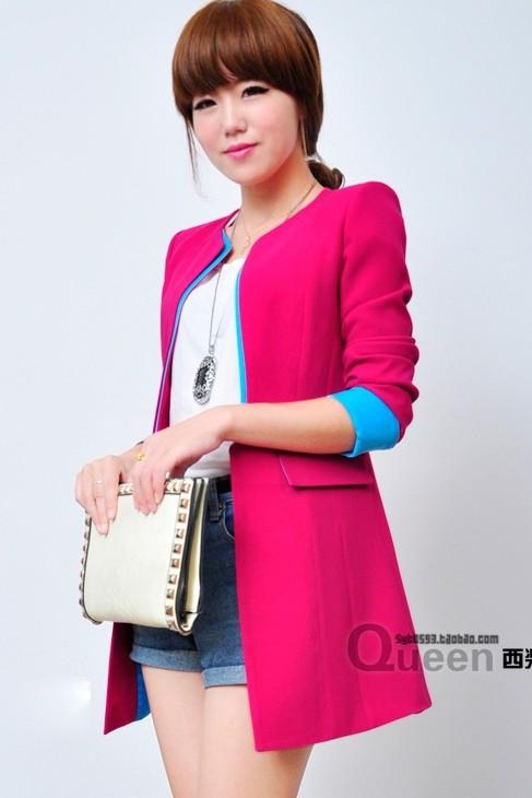 เสื้อสูทแฟชั่น เสื้อสูทผู้หญิง สีชมพู แต่งปลายแขนสีฟ้า ตัวยาวคลุมสะโพก