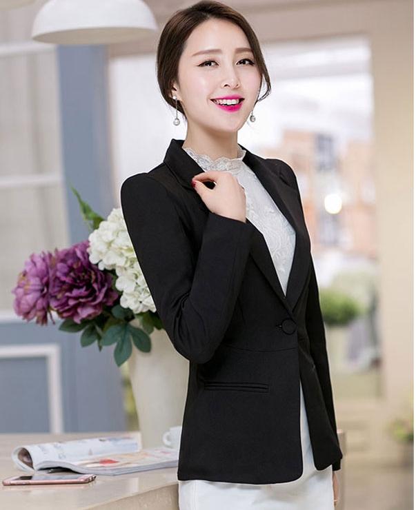 (สินค้าหมด) เสื้อสูทแฟชั่นผู้หญิง เสื้อสูททำงานสีดำ แขนยาว คอปกเก๋ สำหรับใส่ทำงาน หรือใส่เป็นสูทลำลองได้