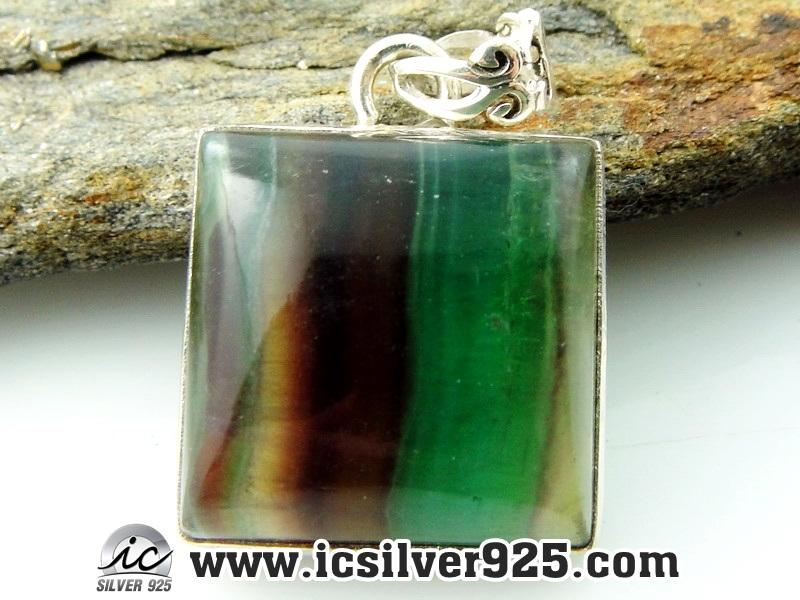 ▽ฟลูออไรต์ (Fluorite)-จี้เงินแท้ 925 (11.1g)