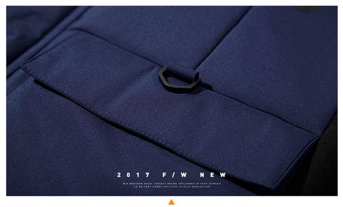 เสื้อกันหนาวผู้ชาย เสื้อแจ็คเก็ตผู้ชายมีฮู้ด สีน้ำเงินตัดดำ เท่ๆ ซับบุ จั้มข้อมือ