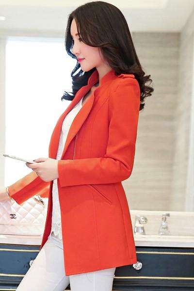 เสื้อสูทแฟชั่น เสื้อสูทผู้หญิง สีส้ม แขนยาว ดีไซน์คอป้าย