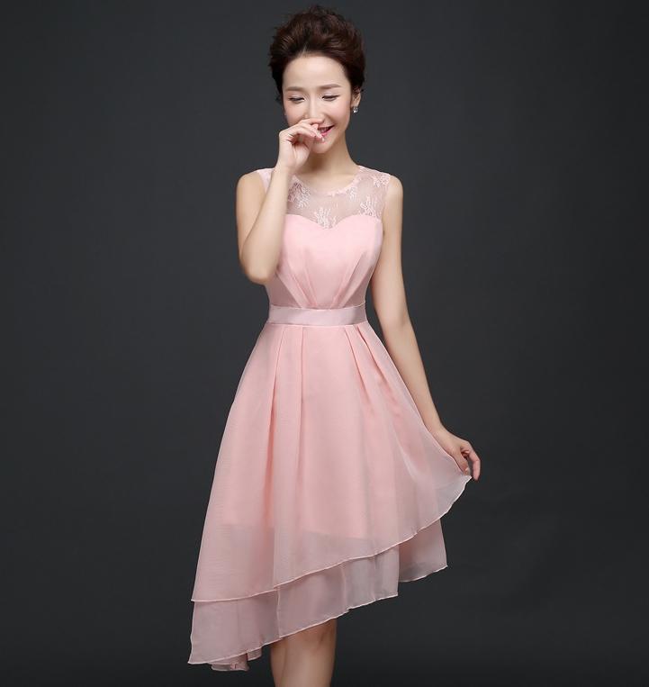 ชุดราตรีสั้นสีชมพู ผ้าชีฟอง แขนกุด สวยหรู ดูดี ใส่ไปงานแต่งงาน งานเลี้ยง งานบายเนียร์