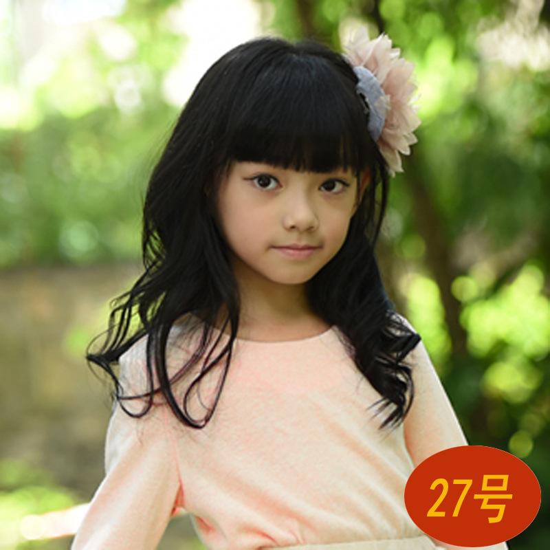 วิคผมเด็ก-ผมม้า+ผมลอนยาวสไตล์เกาหลี (สีดำ)