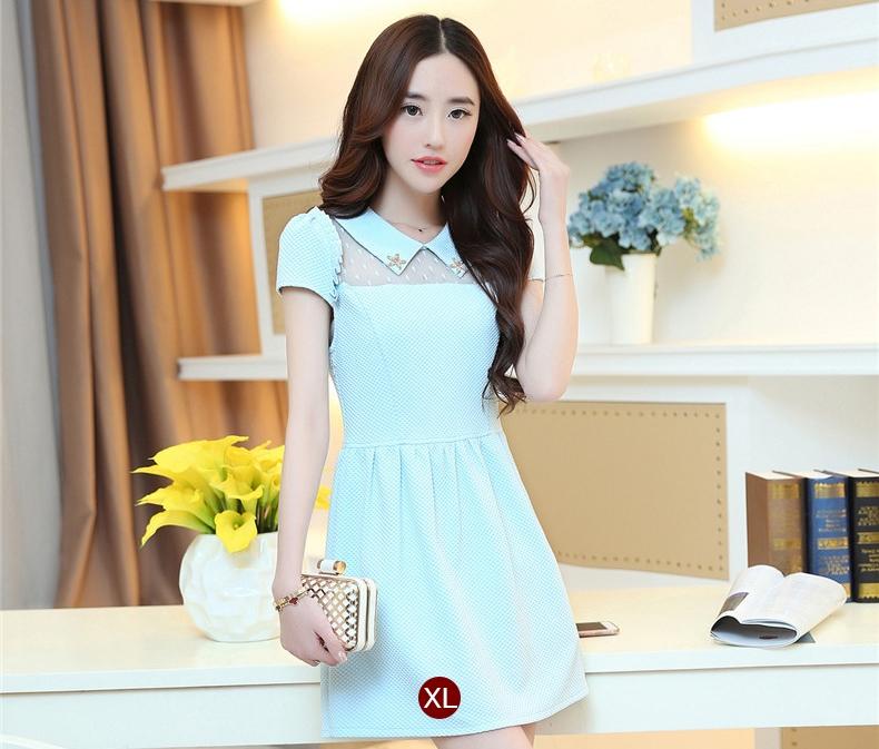 ชุดเดรสสั้นน่ารักๆสดใสสไตล์แฟชั่นเกาหลี สีฟ้า คอปกช่วงไหล่แต่งด้วยผ้าซีทรู แขนสั้น เอวเข้ารูป ผ้าคอตตอนเนื้อผ้ายืดได้ ซิปข้าง ไซส์ XL