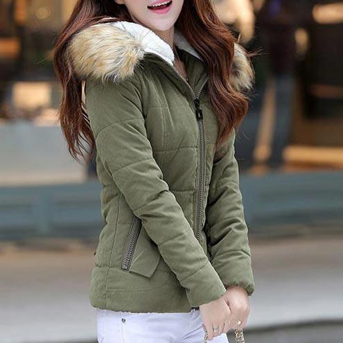 เสื้อกันหนาวผู้หญิงแฟชั่นเกาหลี สีเขียวทหาร แจ็คเก็ตมีเฟอร์ขนสัตว์ รอบฮู้ด แบบถอดได้