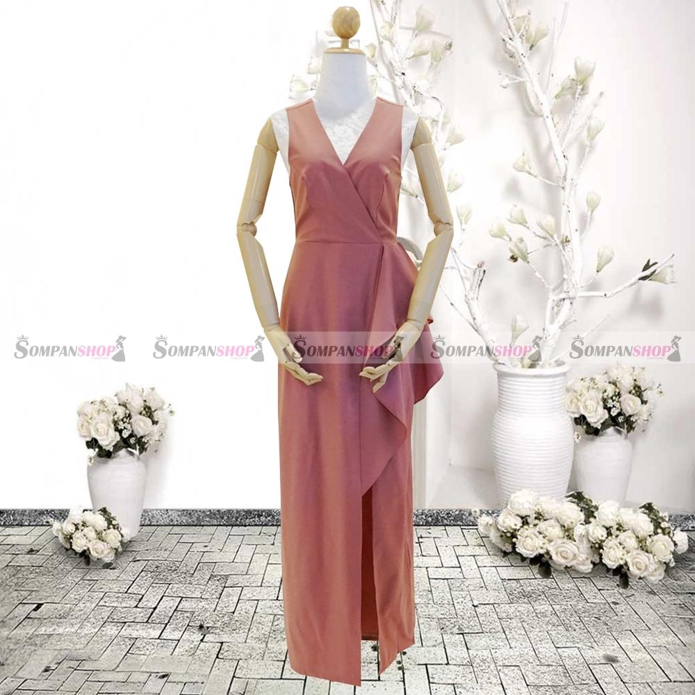 ชุดเดรสออกงานสีชมพูเข้ม คอวี เอวจับจีบระบาย ลุคเรียบๆ สวยหรู ดูสง่า เหมาะสำหรับใส่ออกงาน ไปงานแต่งงาน ( พร้อมส่ง )