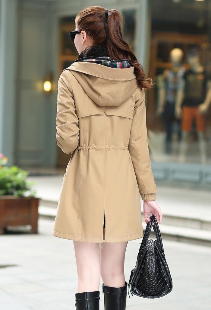 เสื้อกันหนาวผู้หญิงแฟชั่นเกาหลี สีกากี แจ็คเก็ตกันลมฮู้ดลายสก๊อต