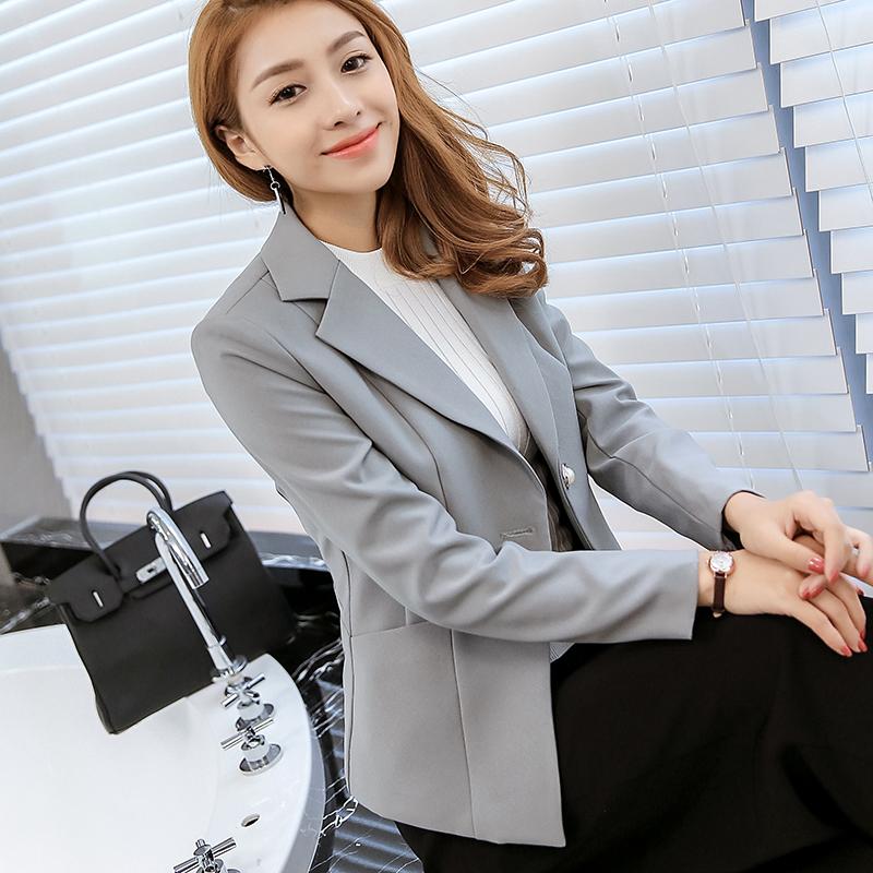 เสื้อสูททำงานผู้หญิงสีเทา แขนยาว ทรงสวย แนวสวยเท่ ดูดี สไตล์สาวออฟฟิศ