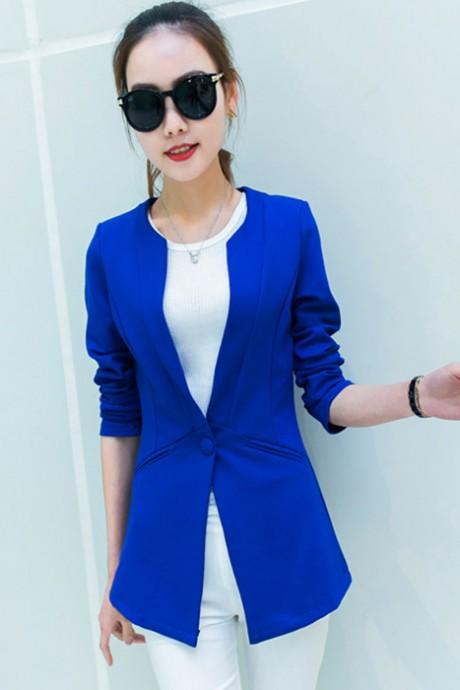 เสื้อสูทแฟชั่น เสื้อสูทผู้หญิง แขนยาว สีน้ำเงิน ตัวยาวคลุมสะโพก