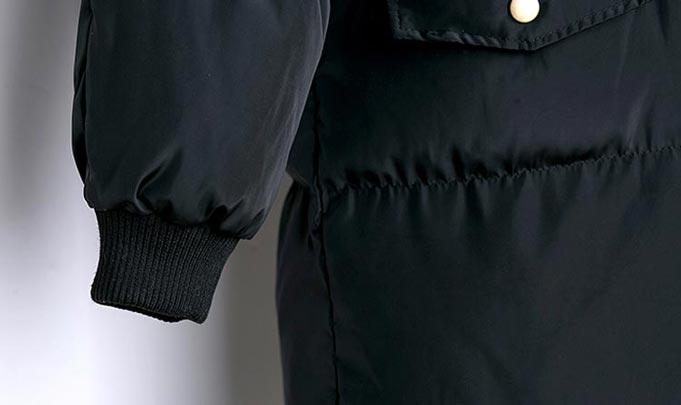 เสื้อกันหนาวผู้หญิงแฟชั่นเกาหลี สีดำ แจ็คเก็ตมีฮู้ด ยาวคลุมเข่า หนาวๆ เอาอยู่