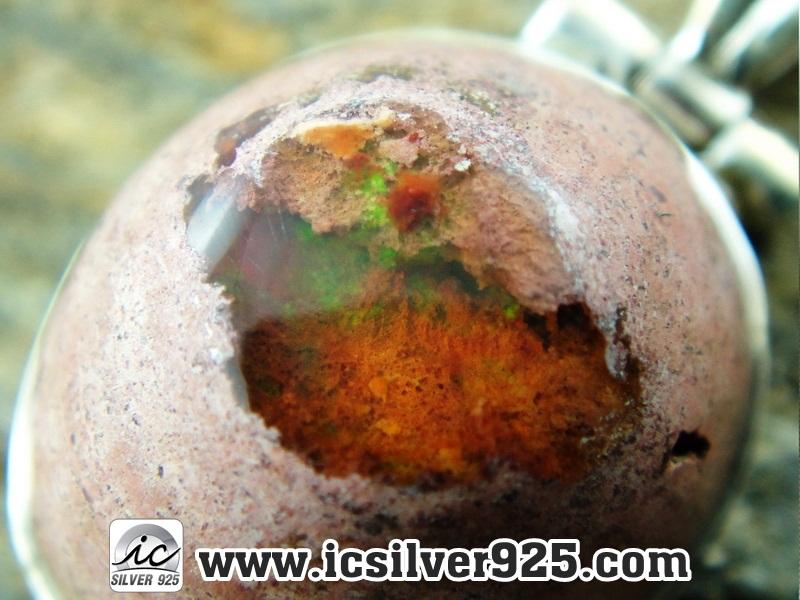 ▽โอปอลไฟ (Mexican Fire Opal) จี้เงินแท้ 925 (3.9g)